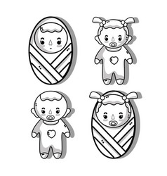 set babies with haistylec and pacifier vector image
