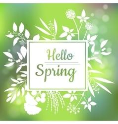 Hello Spring green card design with a textured vector image vector image