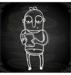Working man drawing on chalk board vector