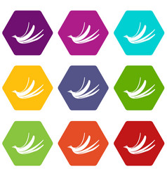 banana peel icon set color hexahedron vector image