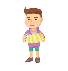 caucasian boy playing the accordion vector image vector image