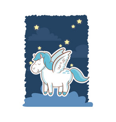 Cute unicorn wings over cloud night star poster vector