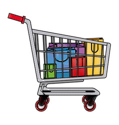 drawing cart shopping paper bag gift commerce vector image vector image