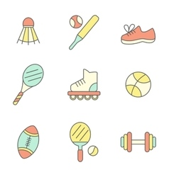 Flat Line Sport Icons vector image