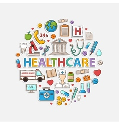 Health care set in the form of a circle vector image vector image