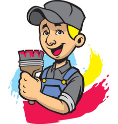 smiling painter man vector image