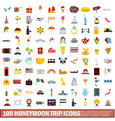 100 honeymoon trip icons set flat style vector