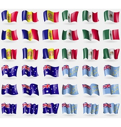 Andorra Mexico Australia Tuvalu Set of 36 flags of vector image