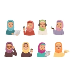 Arabic woman set vector image