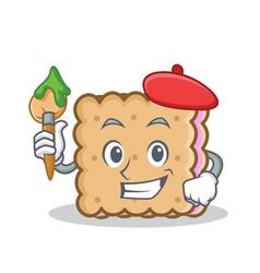 artist biscuit cartoon character style vector image