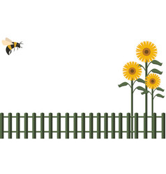Background fence and bumblebee vector
