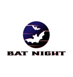 bat silhouette and dark moon vector image