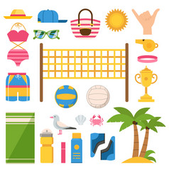 beach volleyball equipment icons set vector image