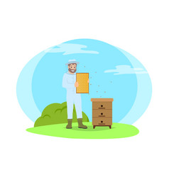 beekeeper wearing uniform vector image
