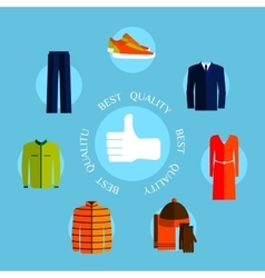 Best quality clothes Flat style design quality vector image