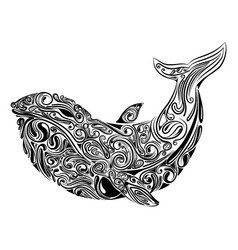 Big whale with beautiful art vector