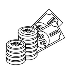 bills and coins money isolated icon vector image