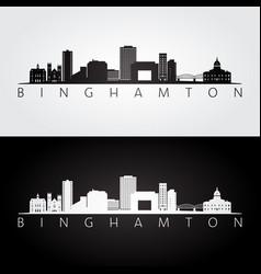 binghamton new york skyline and landmarks vector image