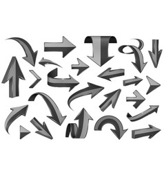 black arrows shiny 3d signs vector image