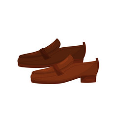 brown leather men loafers side view casual men vector image