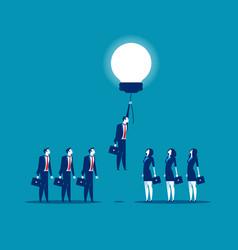 Business person rising on bulb balloon concept vector