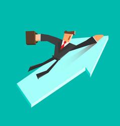 businessman flies on a growing arrow success vector image