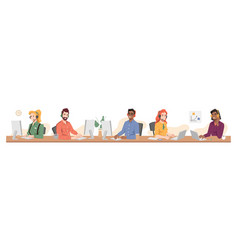 call center online customer service support worker vector image