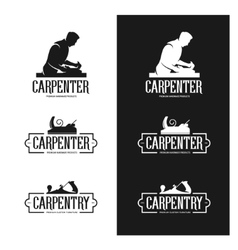 Carpentry vintage labels set carpenter emblems vector