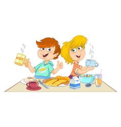 cartoon children eating a breakfast vector image