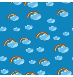 Cartoon seamless rainbow and cloud texture 635 vector