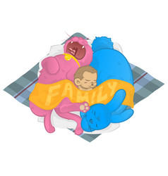 Cat dog monkey family sleeping together sharing vector