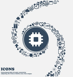 Central Processing Unit icon sign in the center vector image