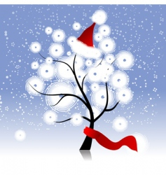 Christmas hat on winter tree vector