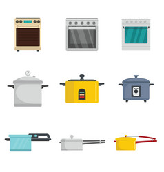 Cooker oven stove pan burner icons set flat style vector