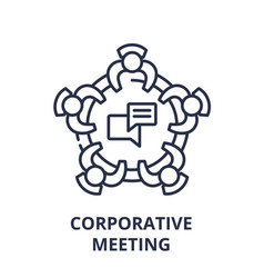 corporative meeting line icon concept corporative vector image