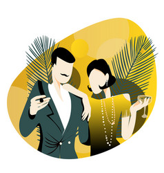 Couple at a party in style early 20th vector