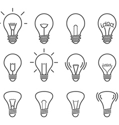 Different light bulb isolated on white set vector image