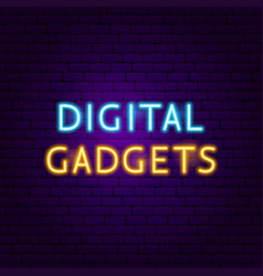 digital gadgets text neon label vector image
