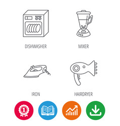 Dishwasher hairdryer and mixer icons vector