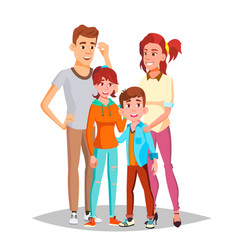 family portrait parents children happy vector image