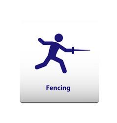 Fencing sport symbol stickman solid icon vector