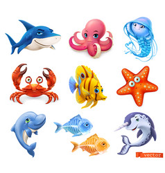 fish and sea animals shark octopus jellyfish crab vector image
