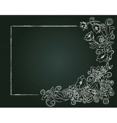 Floral card hand drawn chalk flowers and leaves on vector