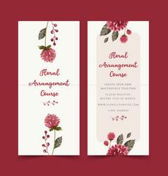 Floral wine flyer design with globe amaranth vector