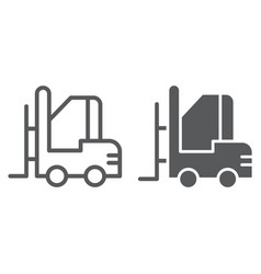 forklift line and glyph icon warehouse and vector image