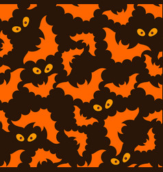 Halloween pattern with bats and eyes vector