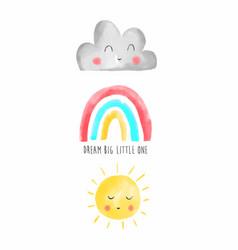 Hand drawing rainbow sun and cloud vector