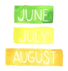 Hand painted watercolor tablets with summer months vector