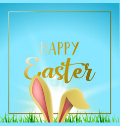 Happy easter card with gold frame and bunny ears vector