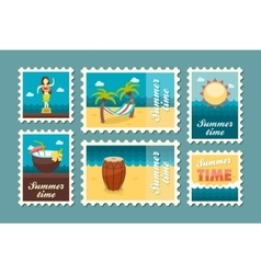 Island beach stamp set Summer Vacation vector image